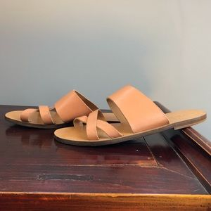 J. Crew Go Anywhere Leather Strappy Slide Sandals